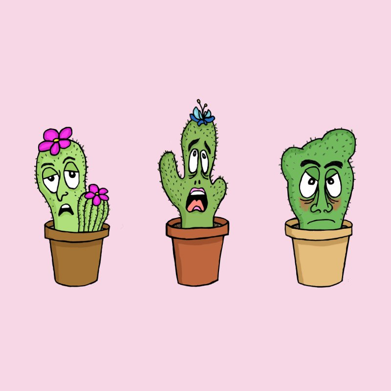 Cranky Cacti Accessories Sticker by mirkaillustrates's Artist Shop