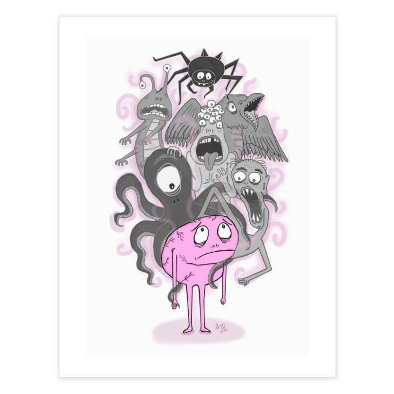 Brain Monsters Home Fine Art Print by mirkaillustrates's Artist Shop