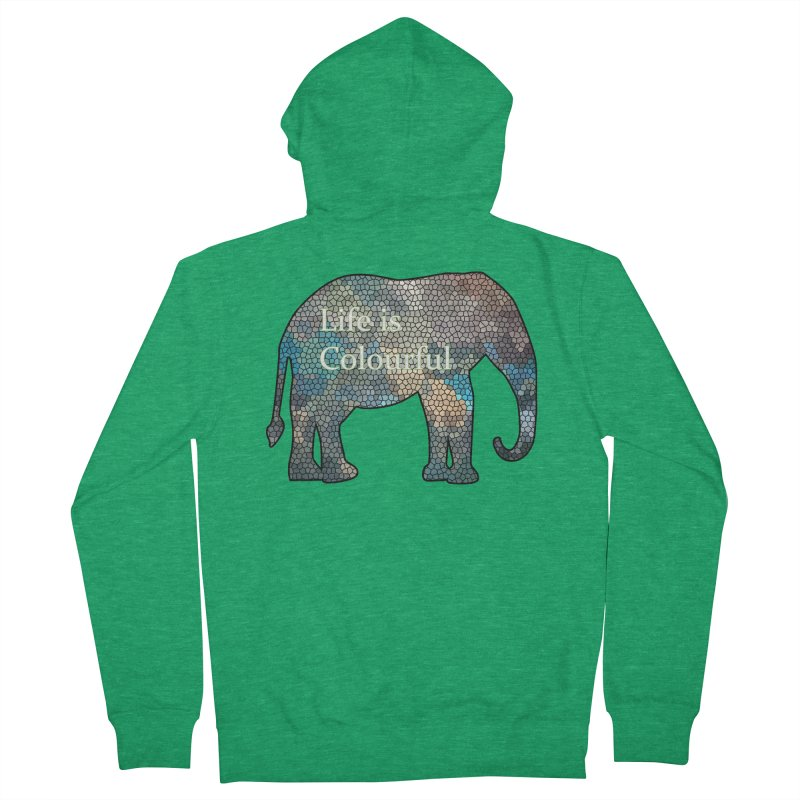 Elephant Mosaic Men's French Terry Zip-Up Hoody by mirrortail's Shop