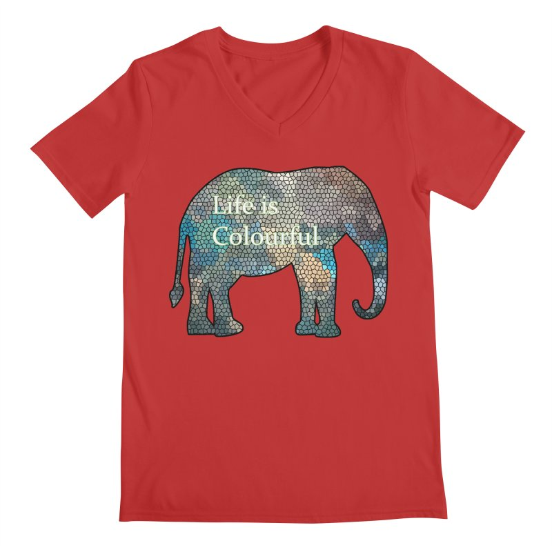 Elephant Mosaic Men's Regular V-Neck by mirrortail's Shop