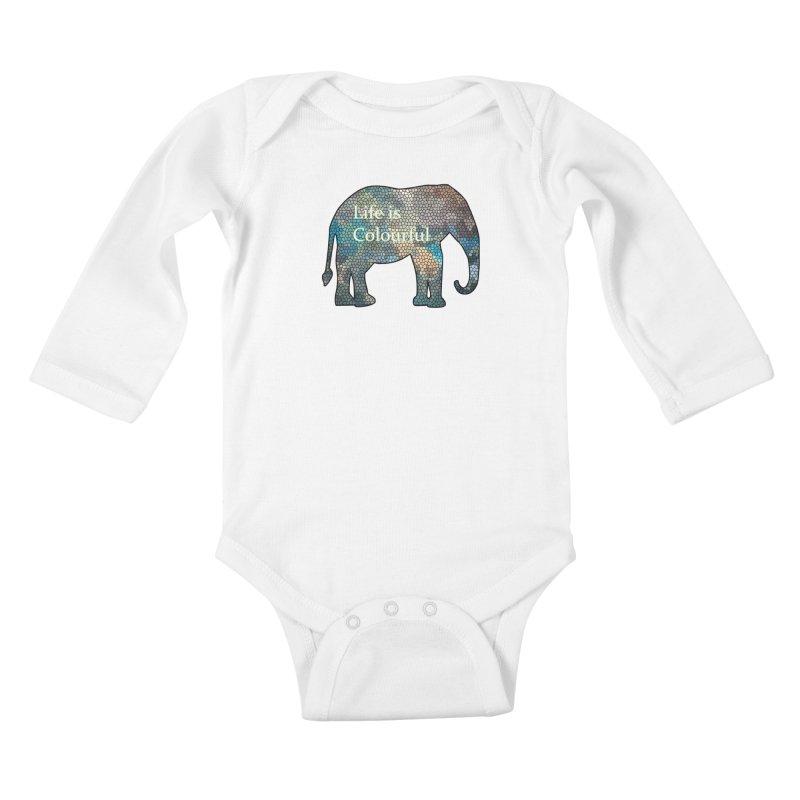 Elephant Mosaic Kids Baby Longsleeve Bodysuit by mirrortail's Shop
