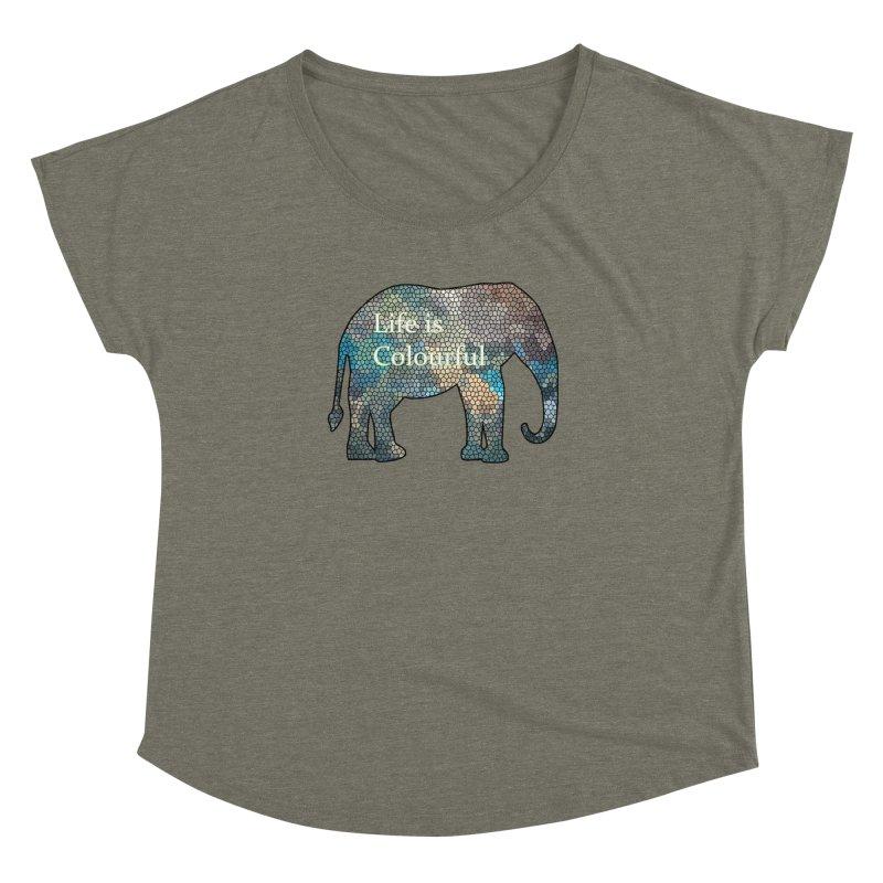 Elephant Mosaic Women's Dolman Scoop Neck by mirrortail's Shop