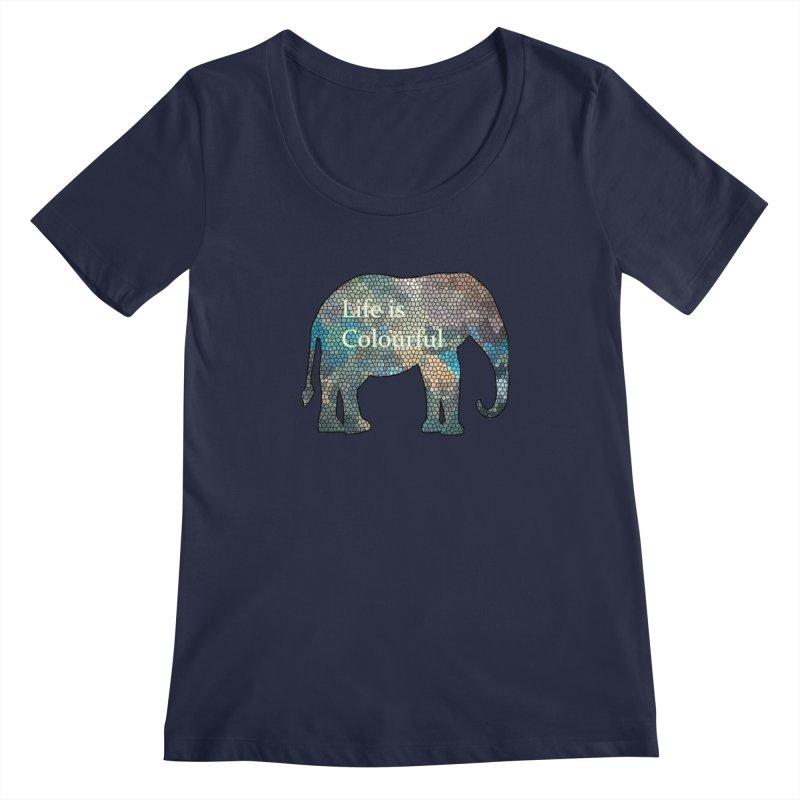 Elephant Mosaic Women's Regular Scoop Neck by mirrortail's Shop