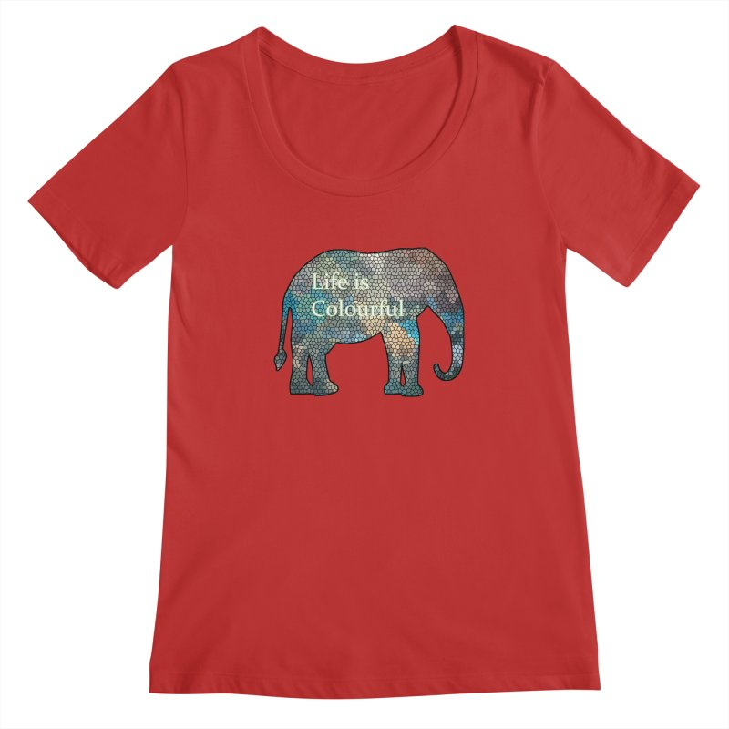 Elephant Mosaic Women's Scoopneck by mirrortail's Shop