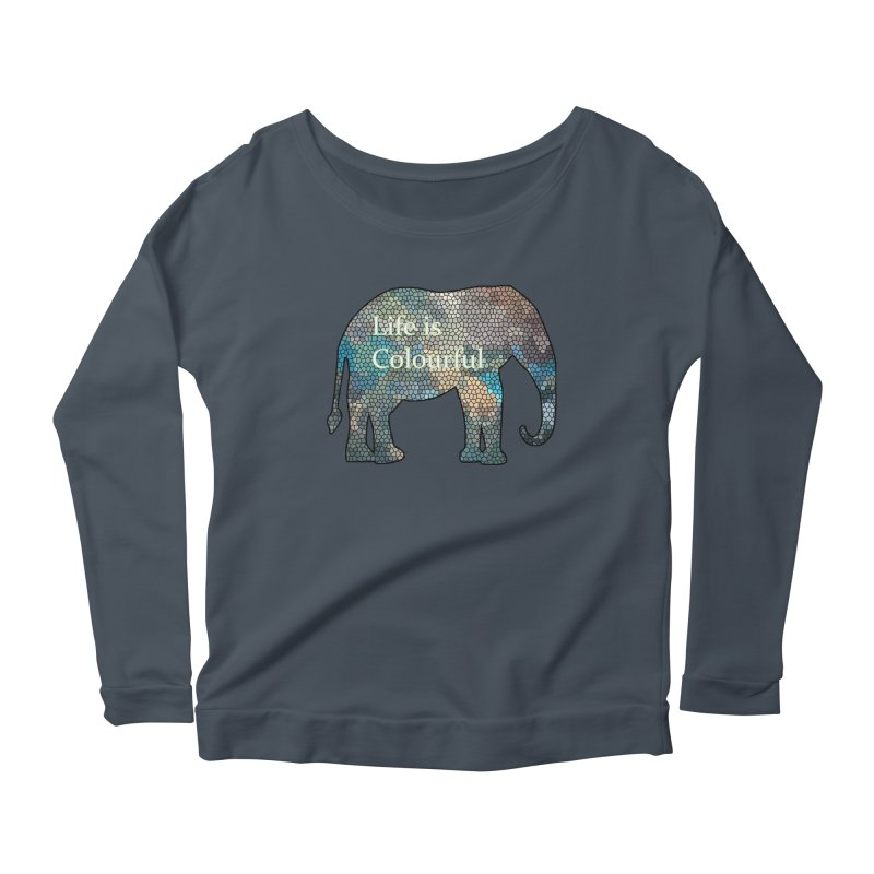 Elephant Mosaic Women's Longsleeve Scoopneck  by mirrortail's Shop