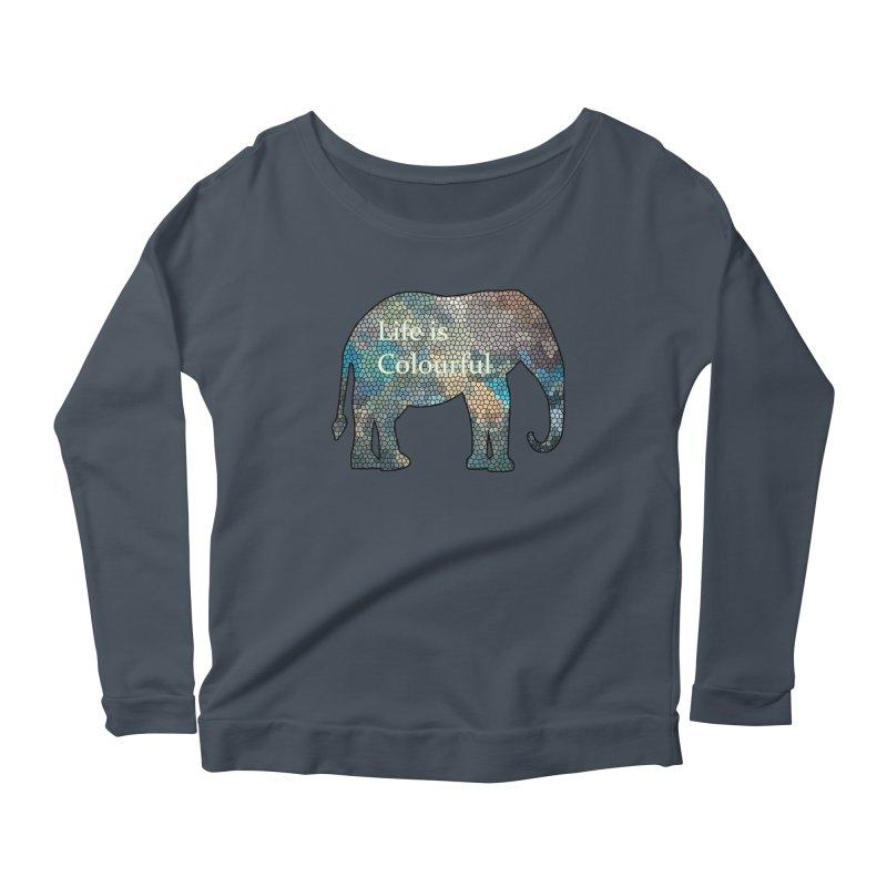 Elephant Mosaic Women's Scoop Neck Longsleeve T-Shirt by mirrortail's Shop