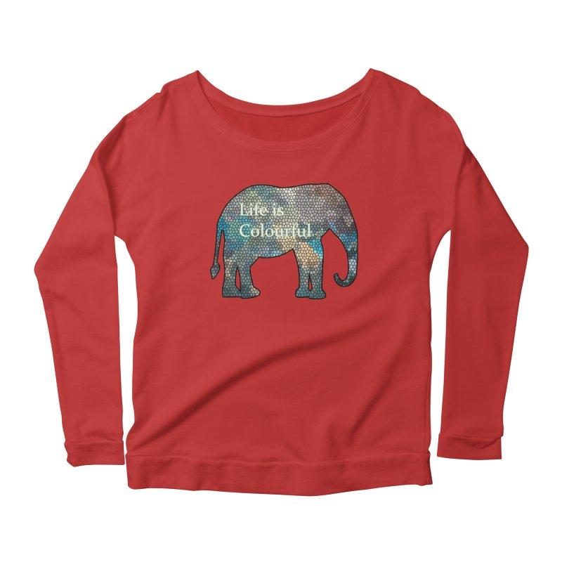 Elephant Mosaic Women's Longsleeve Scoopneck  by mirrortail's Shop
