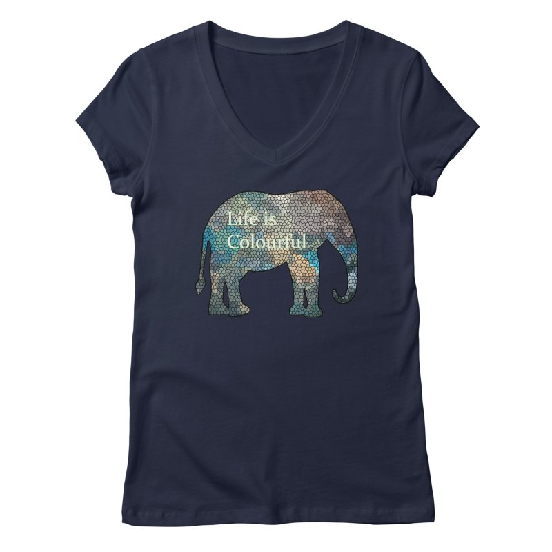 Elephant Mosaic Women's Regular V-Neck by mirrortail's Shop