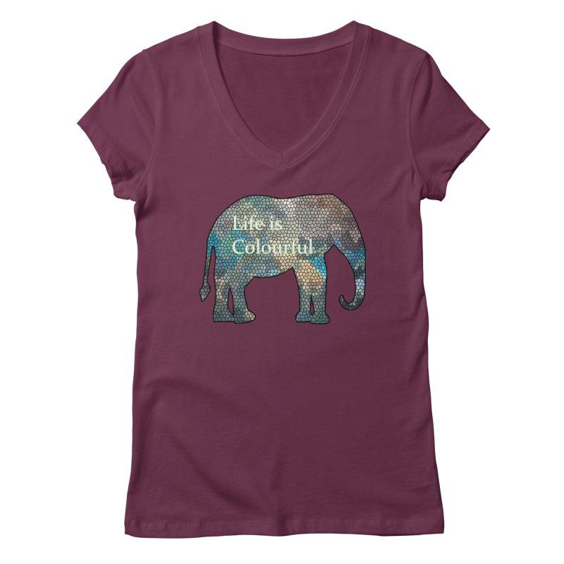 Elephant Mosaic Women's V-Neck by mirrortail's Shop