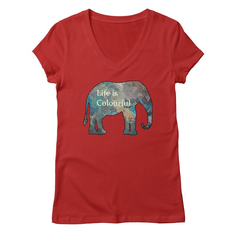 Elephant Mosaic Women's V-Neck by mirrortail's Shop