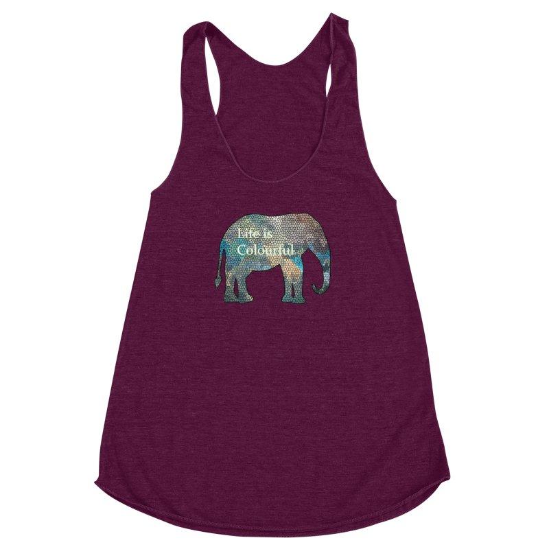 Elephant Mosaic Women's Racerback Triblend Tank by mirrortail's Shop