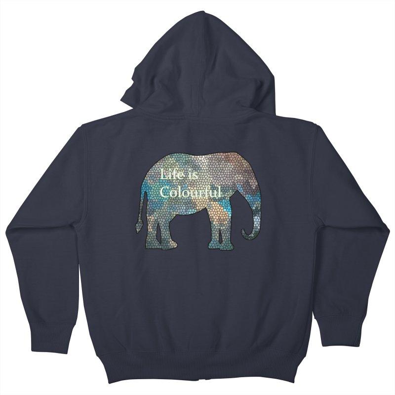 Elephant Mosaic Kids Zip-Up Hoody by mirrortail's Shop