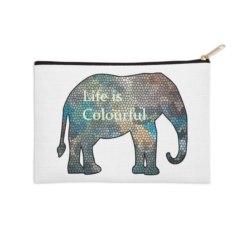 Elephant Mosaic Accessories Zip Pouch by mirrortail's Shop