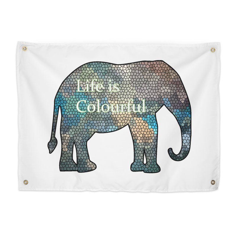 Elephant Mosaic Home Tapestry by mirrortail's Shop