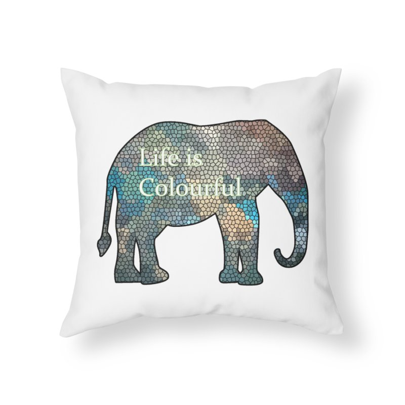 Elephant Mosaic Home Throw Pillow by mirrortail's Shop