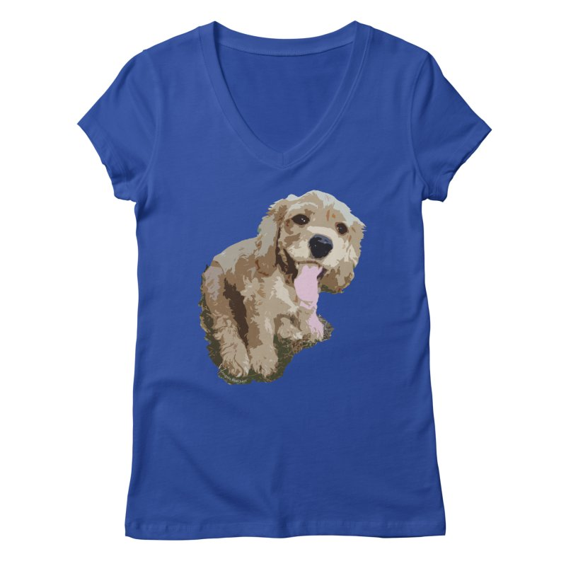 Lil Spaniel Women's V-Neck by mirrortail's Shop