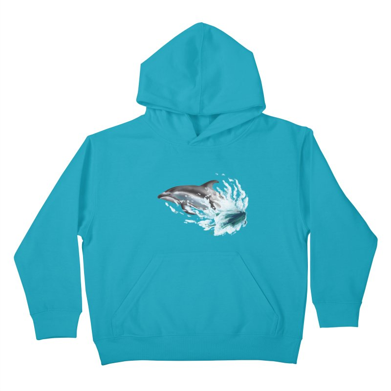 Pacific White-Sided Dolphin  Kids Pullover Hoody by mirrortail's Shop