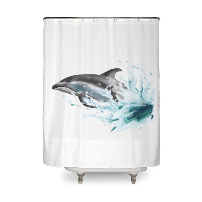 Pacific White-Sided Dolphin  Home Shower Curtain by mirrortail's Shop
