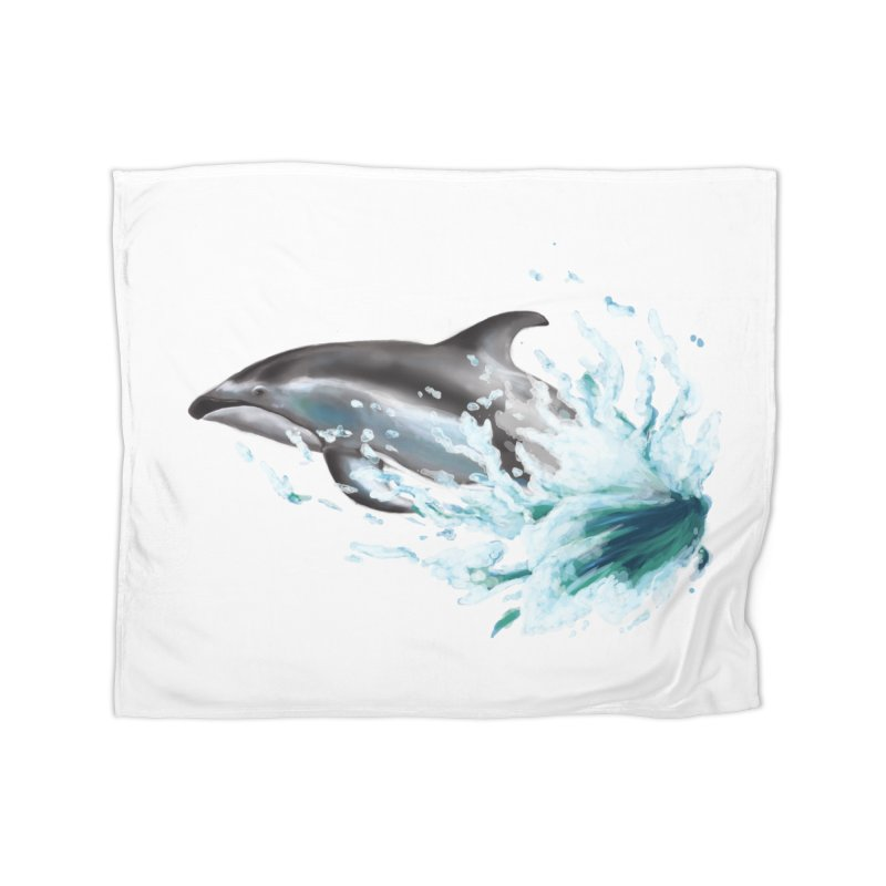 Pacific White-Sided Dolphin  Home Blanket by mirrortail's Shop