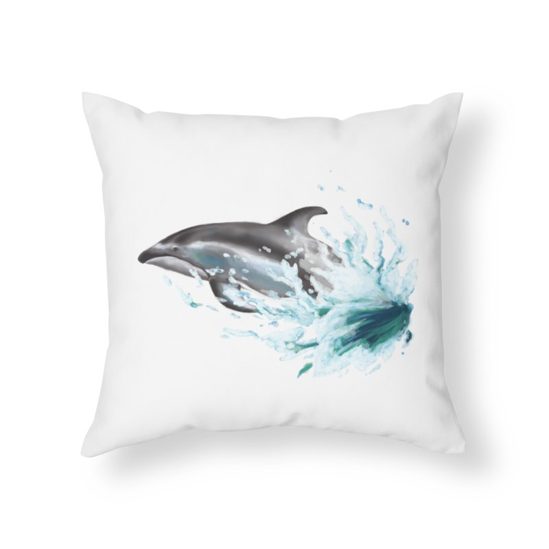Pacific White-Sided Dolphin  Home Throw Pillow by mirrortail's Shop