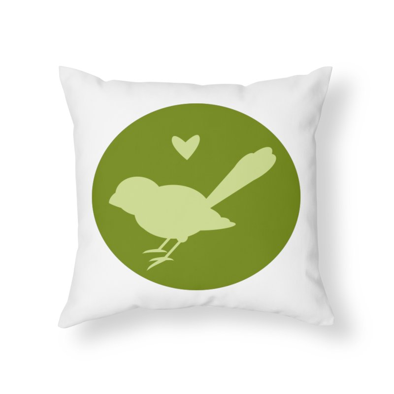 Birdy Green Home Throw Pillow by mirrortail's Shop