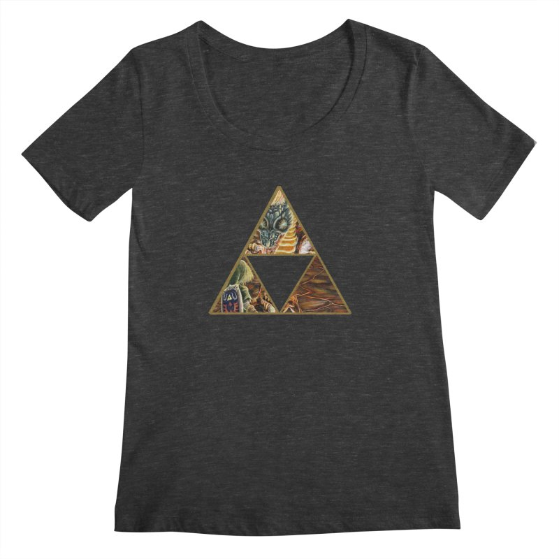Volvagia vs Link Triforce Women's Scoopneck by mirrortail's Shop