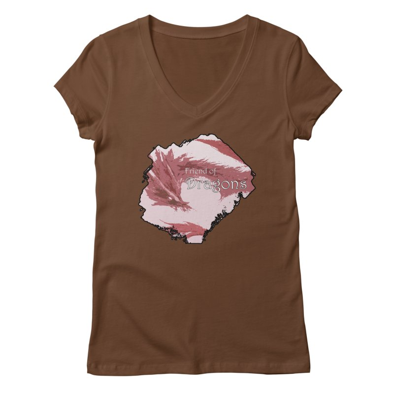 Friend of Dragons - Red Women's V-Neck by mirrortail's Shop