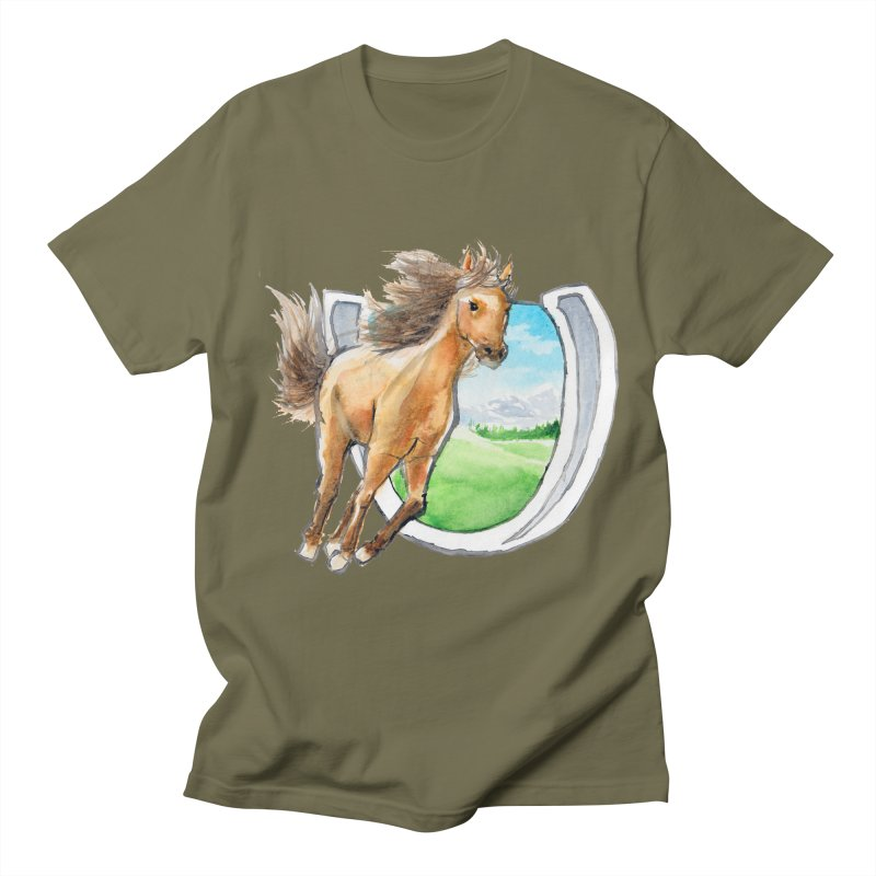 Buckskin Horseshoe Men's Regular T-Shirt by mirrortail's Shop