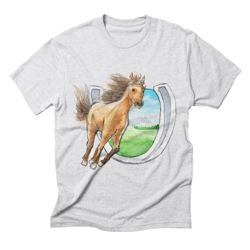 Buckskin Horseshoe Men's Triblend T-Shirt by mirrortail's Shop