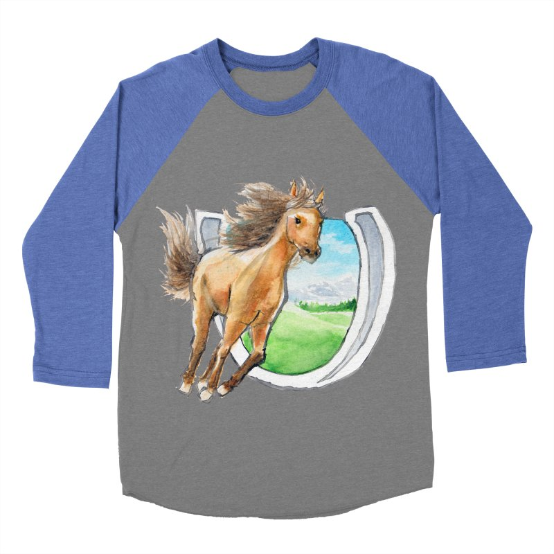 Buckskin Horseshoe Women's Baseball Triblend T-Shirt by mirrortail's Shop