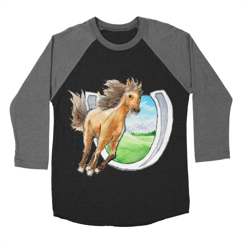 Buckskin Horseshoe Men's Baseball Triblend Longsleeve T-Shirt by mirrortail's Shop