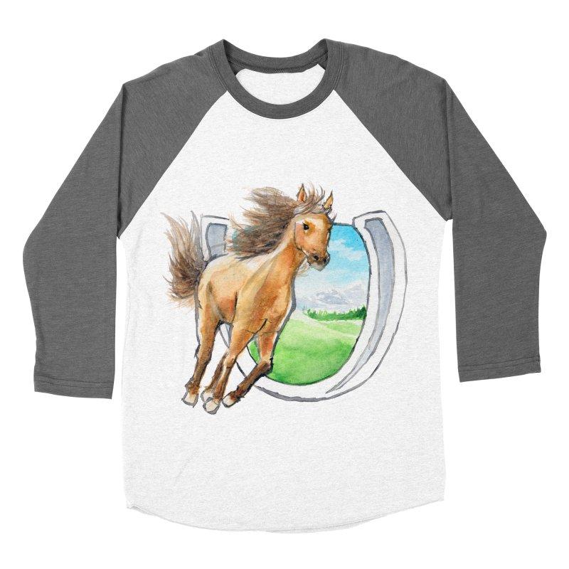 Buckskin Horseshoe Men's Baseball Triblend T-Shirt by mirrortail's Shop