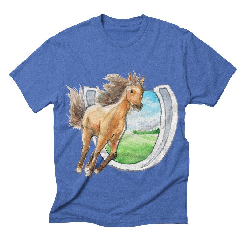 Buckskin Horseshoe Men's Triblend T-shirt by mirrortail's Shop