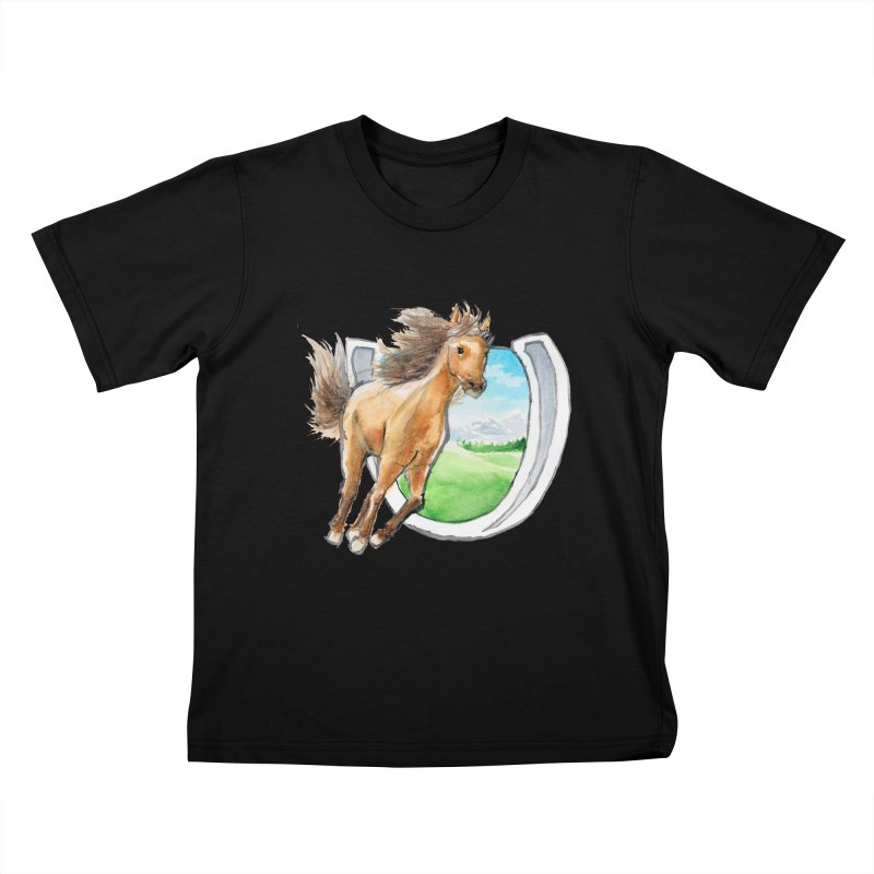 Buckskin Horseshoe Kids T-Shirt by mirrortail's Shop