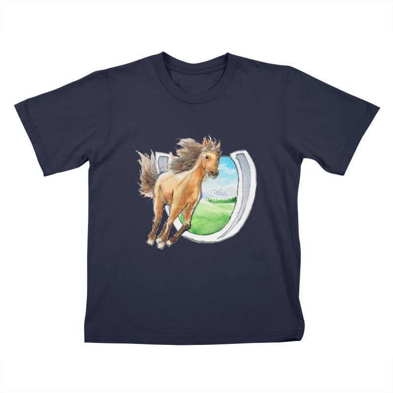 Buckskin Horseshoe Kids T-Shirt by mirrortail's Shop