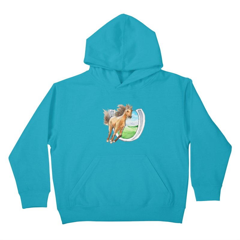 Buckskin Horseshoe Kids Pullover Hoody by mirrortail's Shop