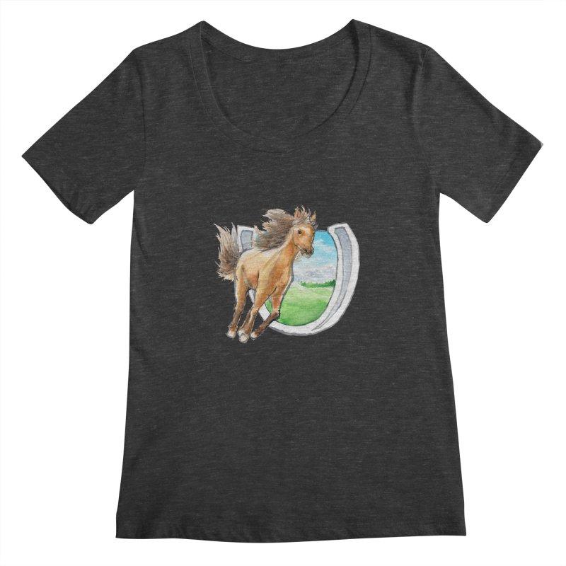 Buckskin Horseshoe Women's Scoopneck by mirrortail's Shop