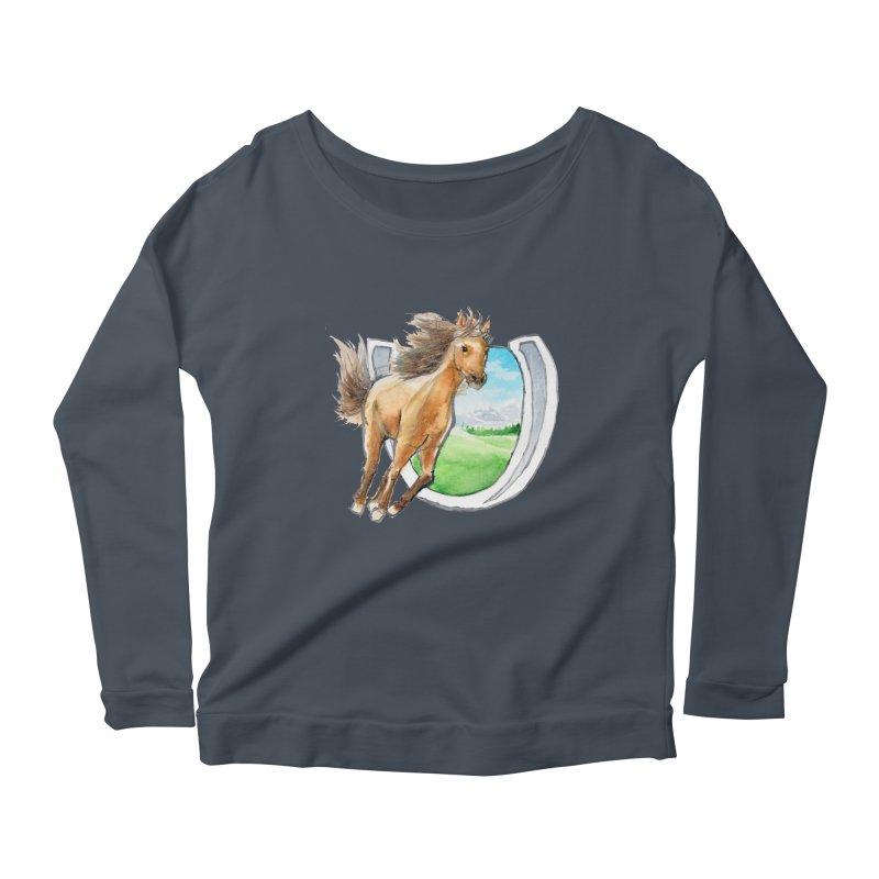 Buckskin Horseshoe Women's Scoop Neck Longsleeve T-Shirt by mirrortail's Shop