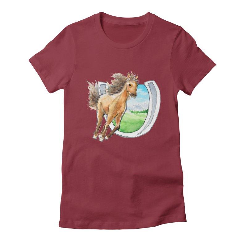 Buckskin Horseshoe Women's Fitted T-Shirt by mirrortail's Shop