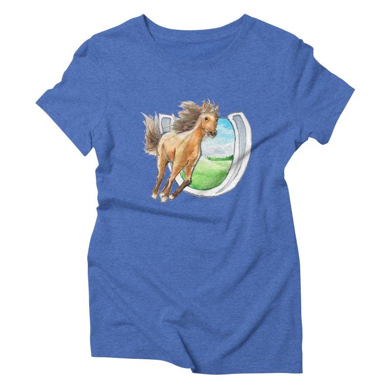 Buckskin Horseshoe Women's Triblend T-Shirt by mirrortail's Shop