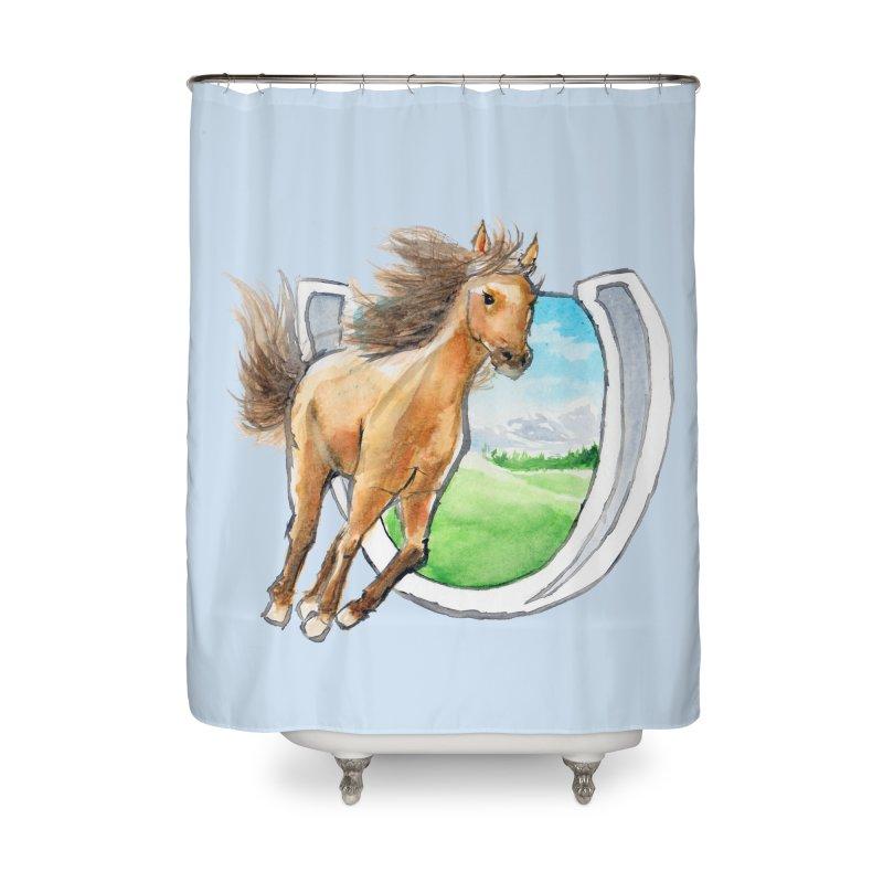 Buckskin Horseshoe Home Shower Curtain by mirrortail's Shop