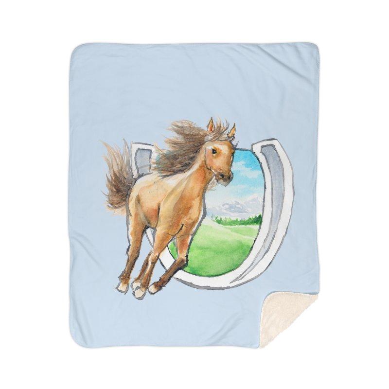 Buckskin Horseshoe Home Sherpa Blanket Blanket by mirrortail's Shop