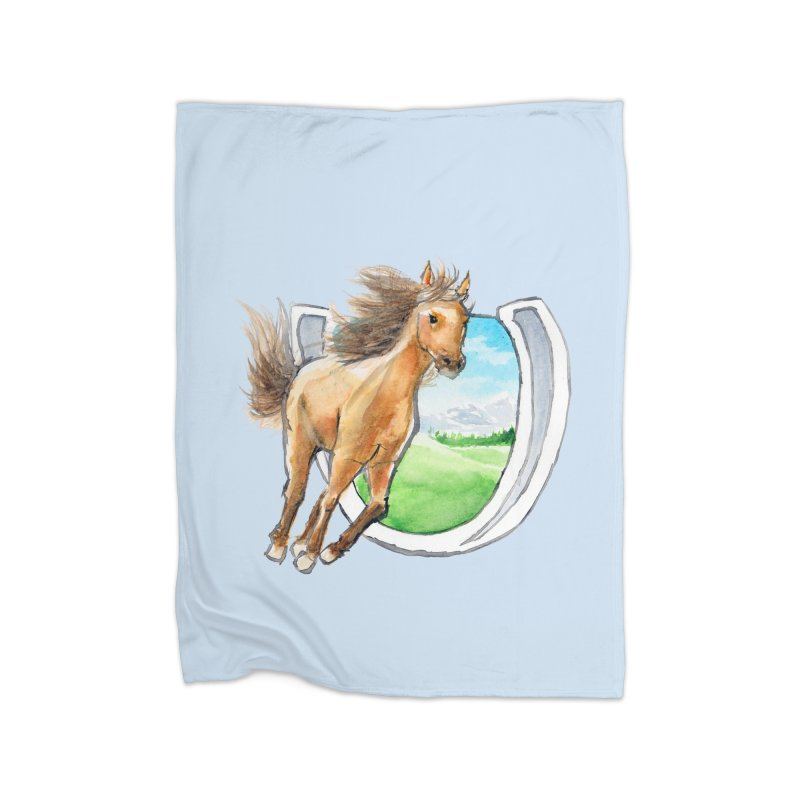 Buckskin Horseshoe Home Blanket by mirrortail's Shop