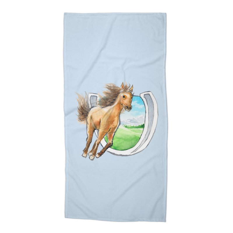 Buckskin Horseshoe Accessories Beach Towel by mirrortail's Shop