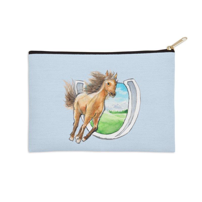Buckskin Horseshoe Accessories Zip Pouch by mirrortail's Shop