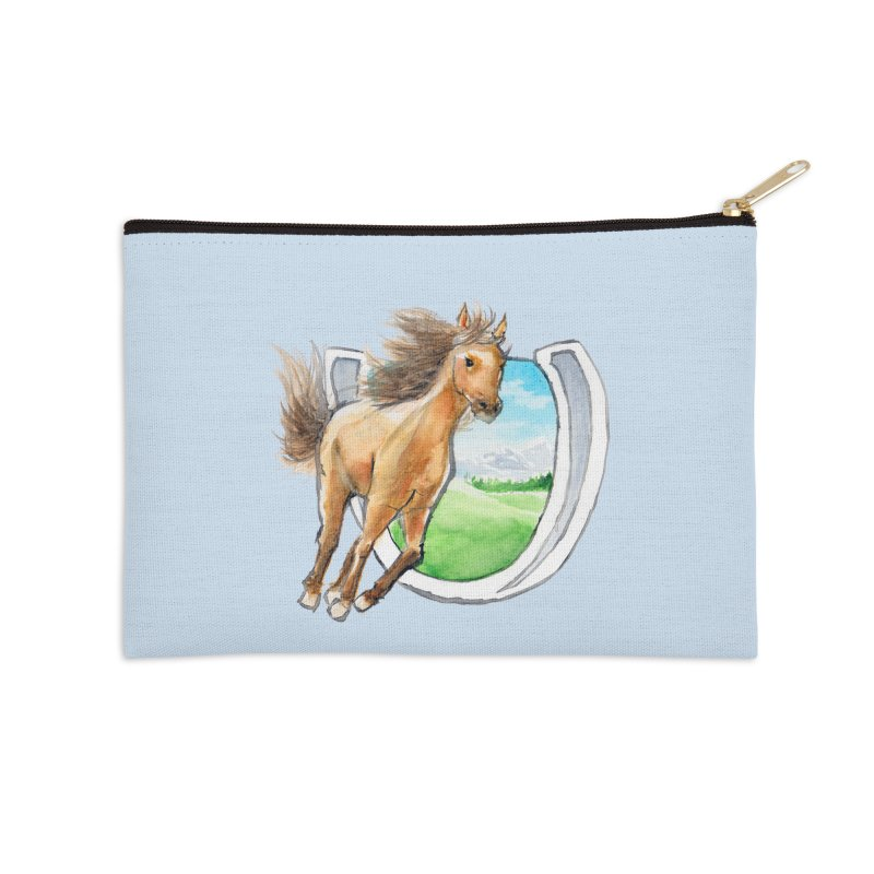 Buckskin Horseshoe Accessories Zip Pouch by mirrortail's Shop