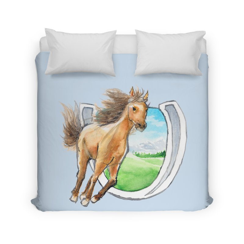 Buckskin Horseshoe Home Duvet by mirrortail's Shop