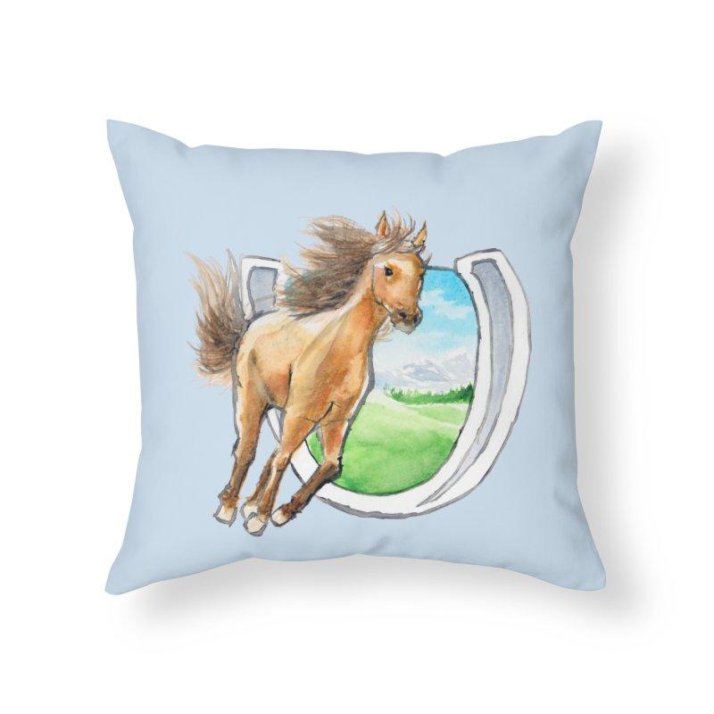 Buckskin Horseshoe Home Throw Pillow by mirrortail's Shop