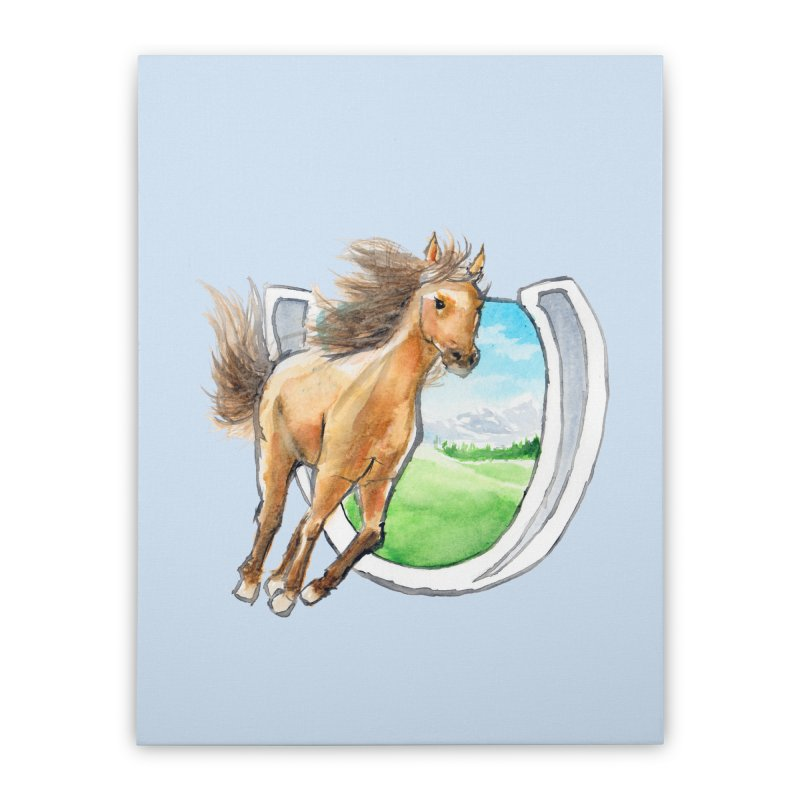 Buckskin Horseshoe Home Stretched Canvas by mirrortail's Shop