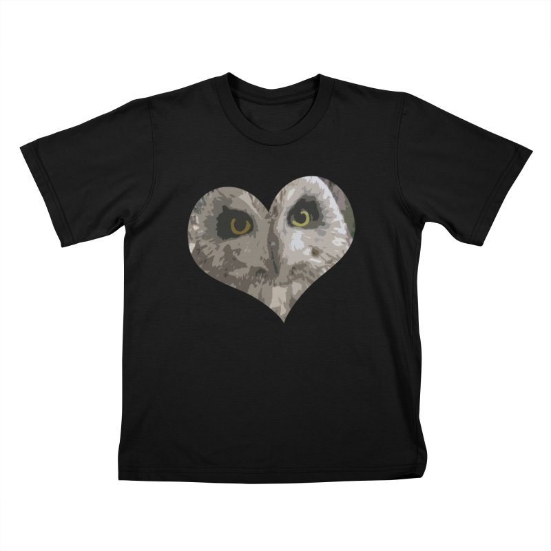 Owl Heart Filter Kids T-Shirt by mirrortail's Shop
